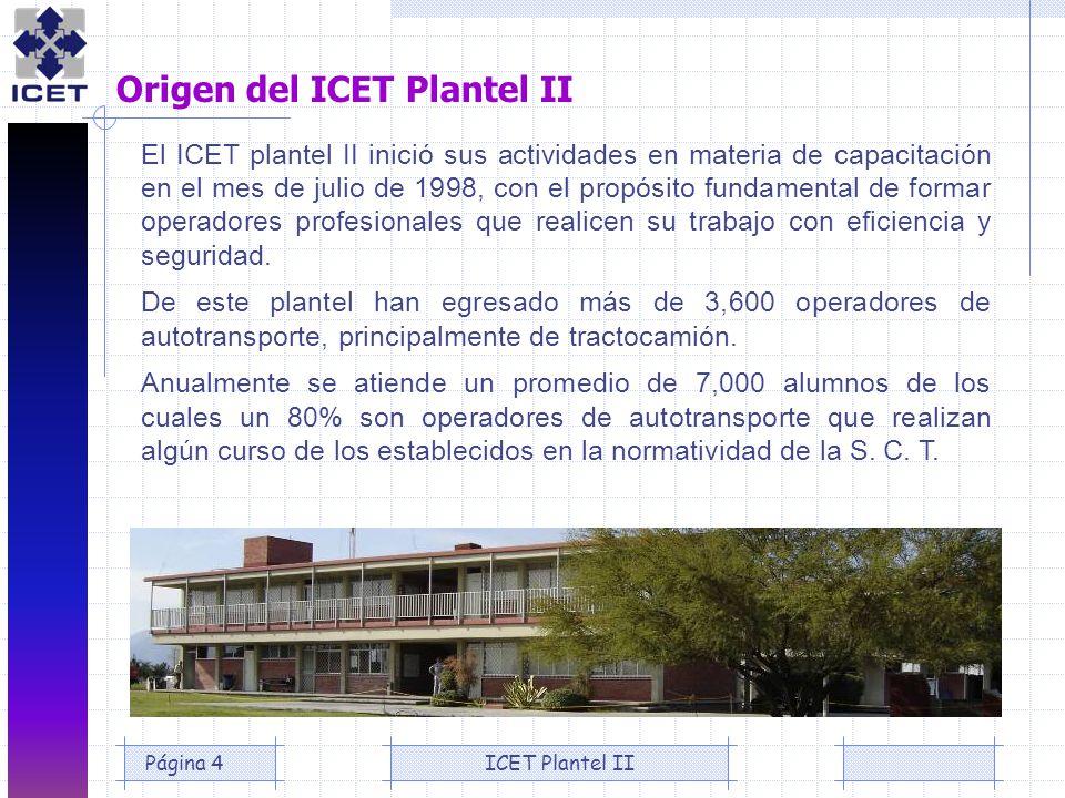 ICET Plantel IIPágina 4 Origen del ICET Plantel II El ICET plantel II inició sus actividades en materia de capacitación en el mes de julio de 1998, co
