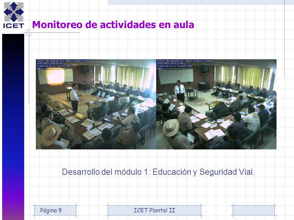 ICET Plantel IIPágina 9 Monitoreo de actividades en aula Desarrollo del módulo 1: Educación y Seguridad Vial.