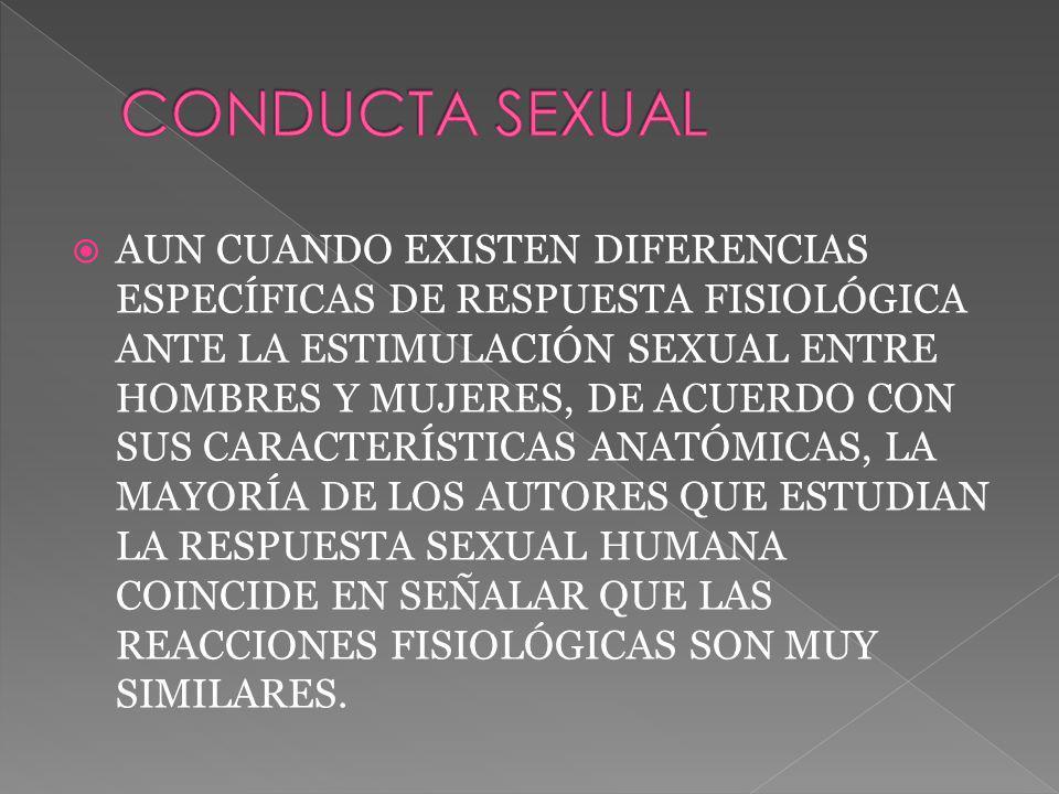 AUN CUANDO EXISTEN DIFERENCIAS ESPECÍFICAS DE RESPUESTA FISIOLÓGICA ANTE LA ESTIMULACIÓN SEXUAL ENTRE HOMBRES Y MUJERES, DE ACUERDO CON SUS CARACTERÍSTICAS ANATÓMICAS, LA MAYORÍA DE LOS AUTORES QUE ESTUDIAN LA RESPUESTA SEXUAL HUMANA COINCIDE EN SEÑALAR QUE LAS REACCIONES FISIOLÓGICAS SON MUY SIMILARES.