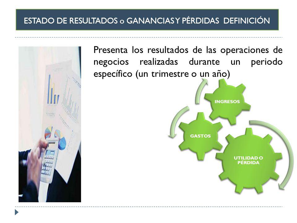 ESTADO DE RESULTADOS o GANANCIAS Y PÉRDIDAS DEFINICIÓN Presenta los resultados de las operaciones de negocios realizadas durante un periodo específico