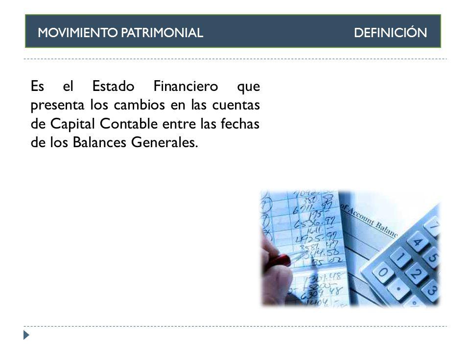MOVIMIENTO PATRIMONIAL DEFINICIÓN Es el Estado Financiero que presenta los cambios en las cuentas de Capital Contable entre las fechas de los Balances