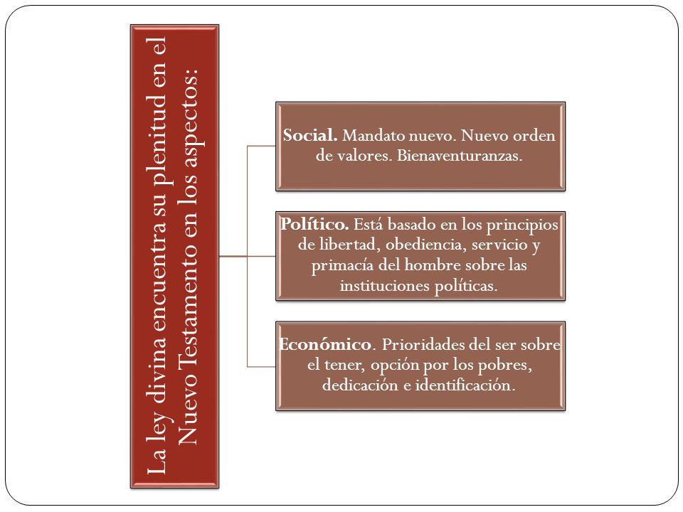 La ley divina encuentra su plenitud en el Nuevo Testamento en los aspectos: Social. Mandato nuevo. Nuevo orden de valores. Bienaventuranzas. Político.
