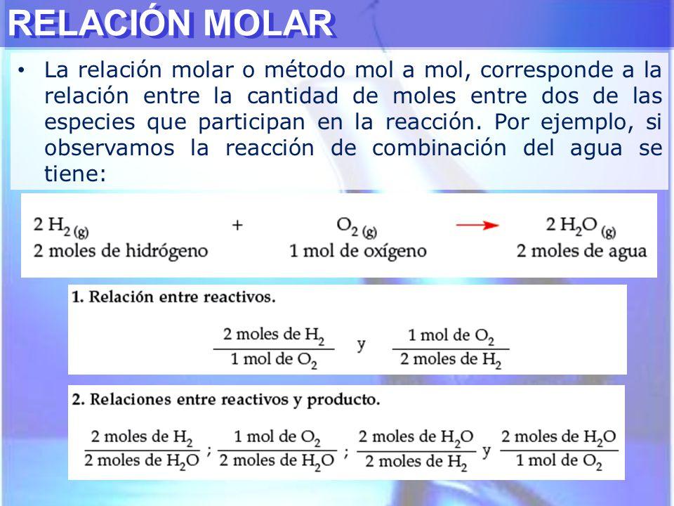 RELACIÓN MOLAR La relación molar o método mol a mol, corresponde a la relación entre la cantidad de moles entre dos de las especies que participan en