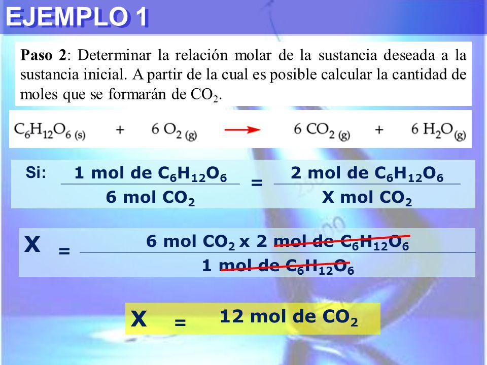 EJEMPLO 1 Paso 2: Determinar la relación molar de la sustancia deseada a la sustancia inicial. A partir de la cual es posible calcular la cantidad de