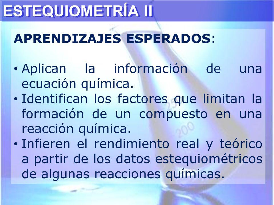 ESTEQUIOMETRÍA II APRENDIZAJES ESPERADOS: Aplican la información de una ecuación química. Identifican los factores que limitan la formación de un comp