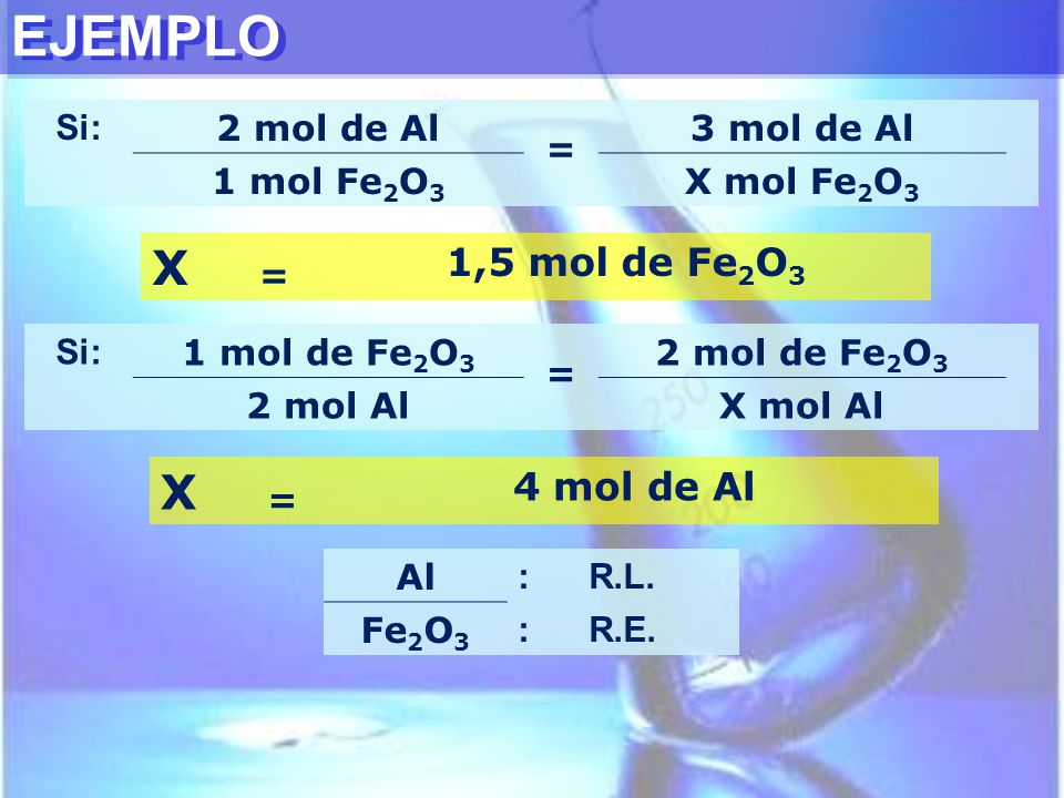 EJEMPLO Si: 2 mol de Al = 3 mol de Al 1 mol Fe 2 O 3 X mol Fe 2 O 3 X = 1,5 mol de Fe 2 O 3 Si: 1 mol de Fe 2 O 3 = 2 mol de Fe 2 O 3 2 mol AlX mol Al