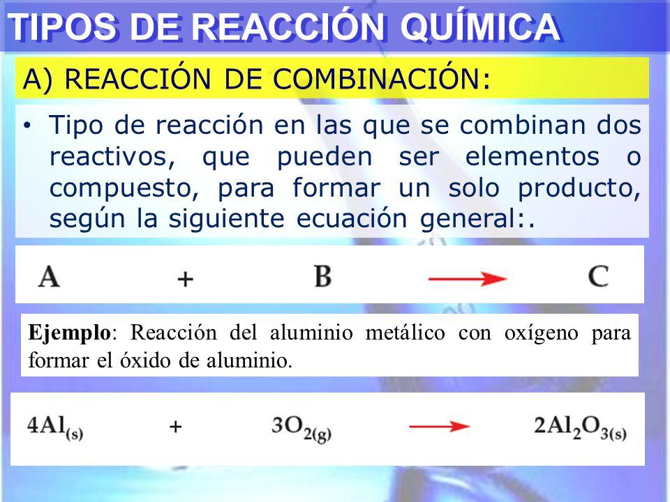TIPOS DE REACCIÓN QUÍMICA A) REACCIÓN DE COMBINACIÓN: Tipo de reacción en las que se combinan dos reactivos, que pueden ser elementos o compuesto, par