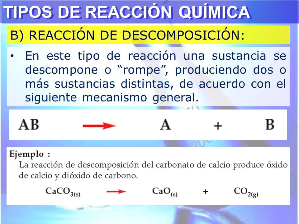TIPOS DE REACCIÓN QUÍMICA B) REACCIÓN DE DESCOMPOSICIÓN: En este tipo de reacción una sustancia se descompone o rompe, produciendo dos o más sustancia