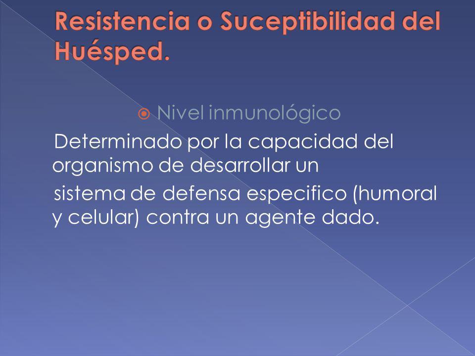 Nivel inmunológico Determinado por la capacidad del organismo de desarrollar un sistema de defensa especifico (humoral y celular) contra un agente dad