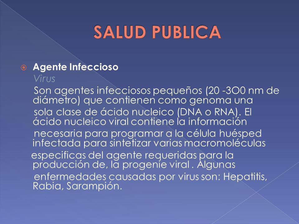 Agente Infeccioso Virus Son agentes infecciosos pequeños (20 -3O0 nm de diámetro) que contienen como genoma una sola clase de ácido nucleico (DNA o RN