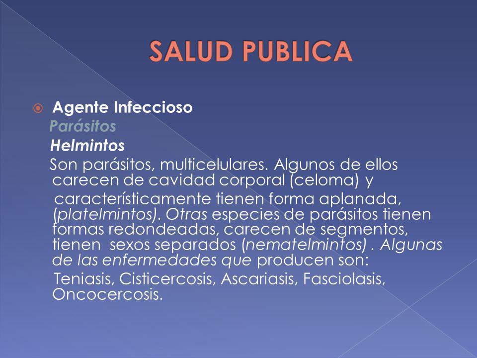 Agente Infeccioso Parásitos Helmintos Son parásitos, multicelulares. Algunos de ellos carecen de cavidad corporal (celoma) y característicamente tiene