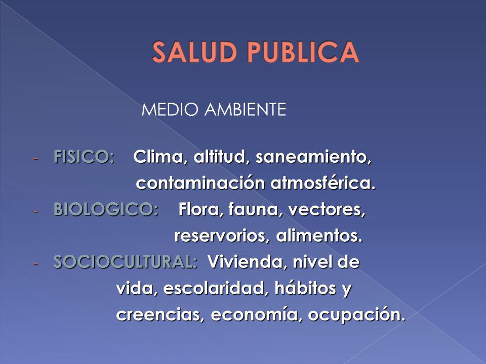 MEDIO AMBIENTE - FISICO: Clima, altitud, saneamiento, contaminación atmosférica. contaminación atmosférica. - BIOLOGICO: Flora, fauna, vectores, reser