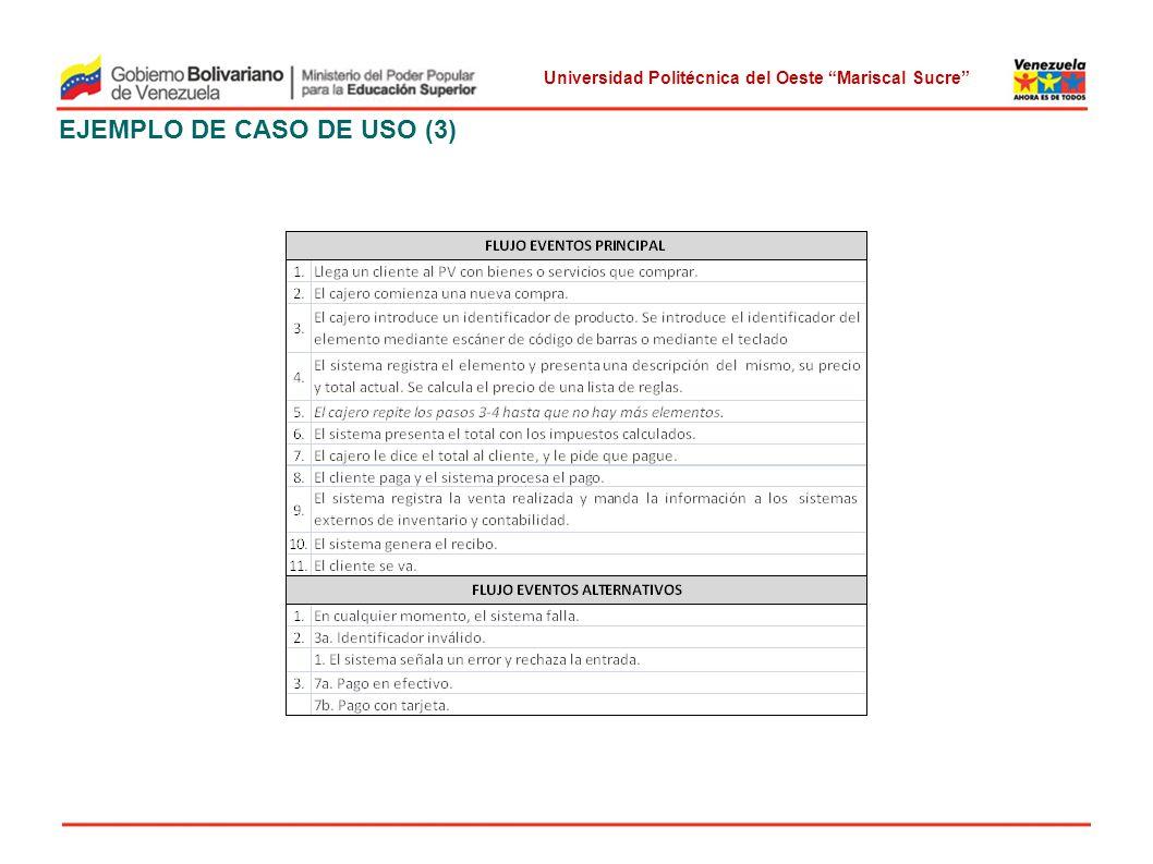 Universidad Politécnica del Oeste Mariscal Sucre EJEMPLO DE CASO DE USO (3)