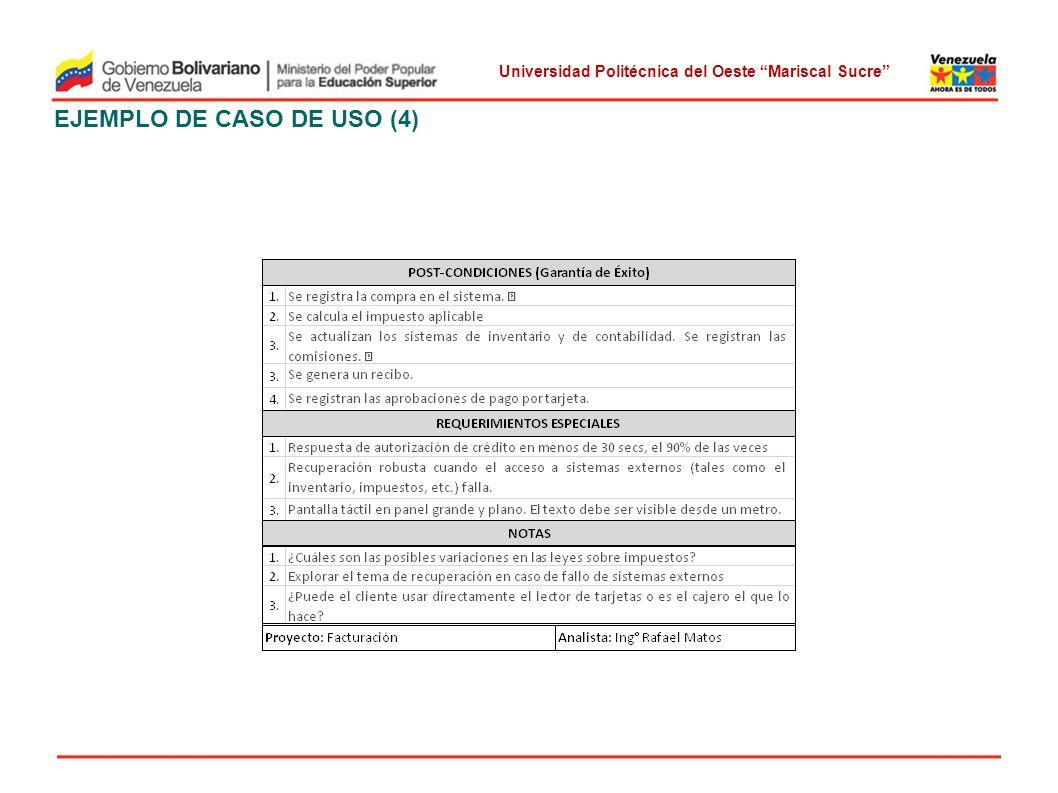Universidad Politécnica del Oeste Mariscal Sucre EJEMPLO DE CASO DE USO (4)