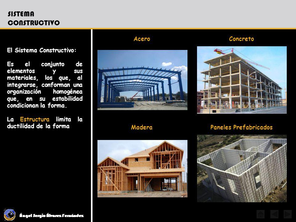 Ángel Sergio Álvarez Fernández SISTEMA CONSTRUCTIVO El Sistema Constructivo: Es el conjunto de elementos y sus materiales, los que, al integrarse, con