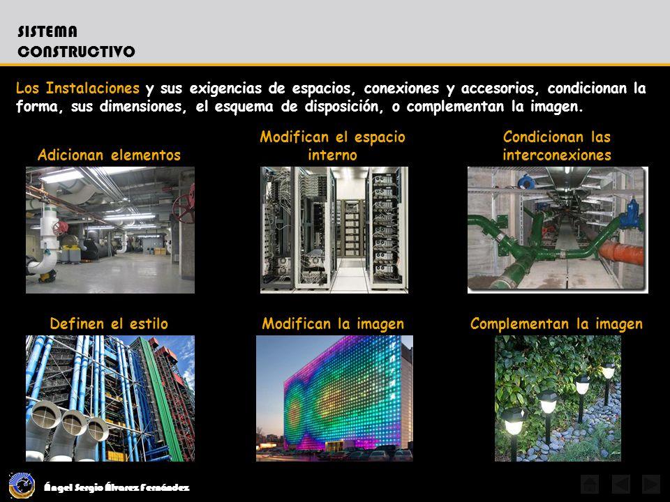 Ángel Sergio Álvarez Fernández SISTEMA CONSTRUCTIVO Los Instalaciones y sus exigencias de espacios, conexiones y accesorios, condicionan la forma, sus