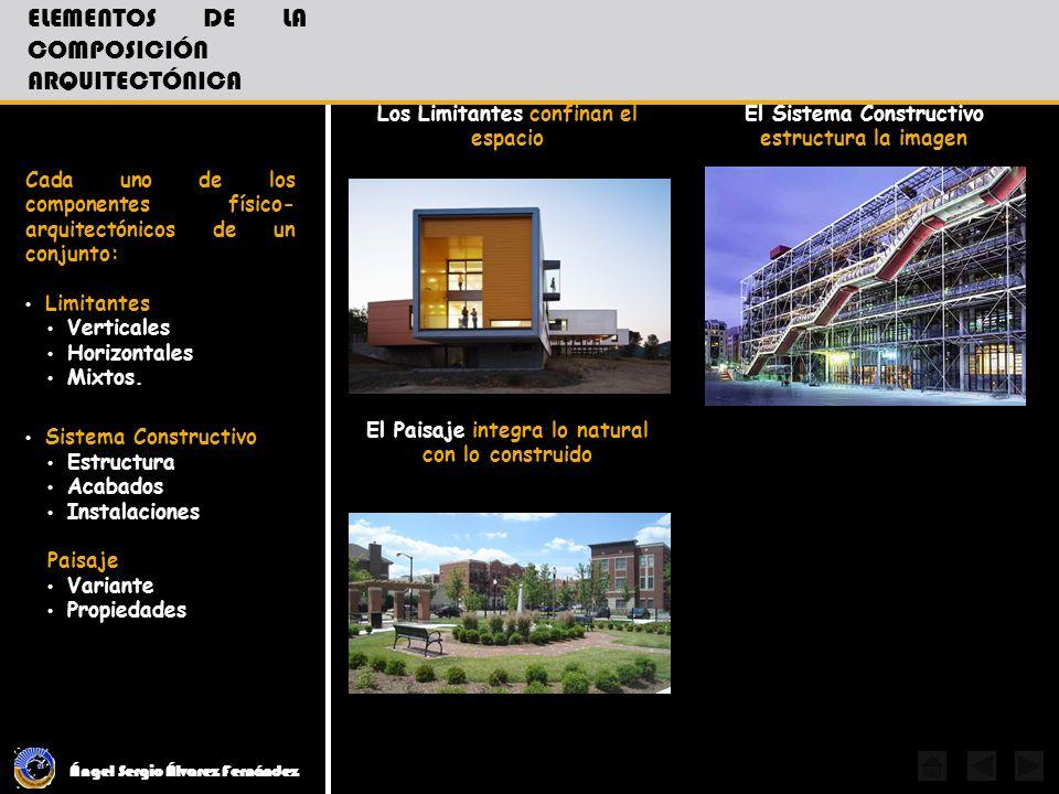 Ángel Sergio Álvarez Fernández ELEMENTOS DE LA COMPOSICIÓN ARQUITECTÓNICA Cada uno de los componentes físico- arquitectónicos de un conjunto: Limitant