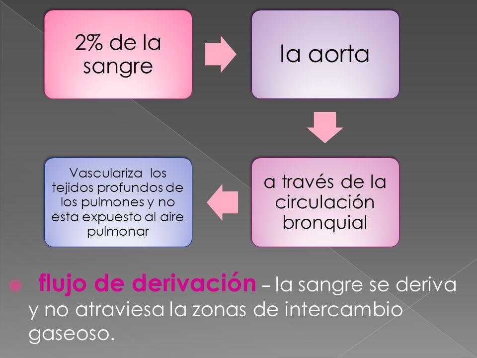 flujo de derivación la sangre se deriva y no atraviesa la zonas de intercambio gaseoso.