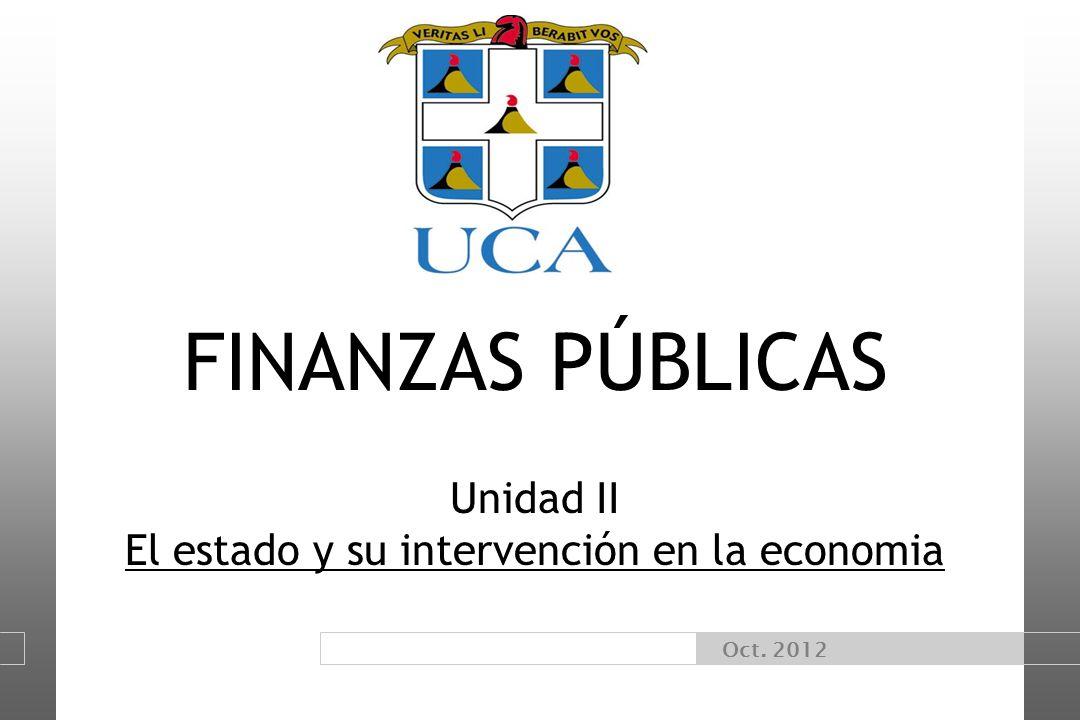 Oct. 2012 FINANZAS PÚBLICAS Unidad II El estado y su intervención en la economia