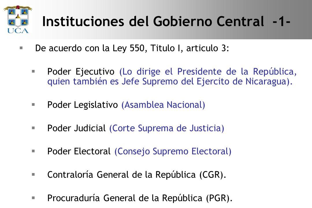 De acuerdo con la Ley 550, Titulo I, articulo 3: Poder Ejecutivo (Lo dirige el Presidente de la República, quien también es Jefe Supremo del Ejercito de Nicaragua).