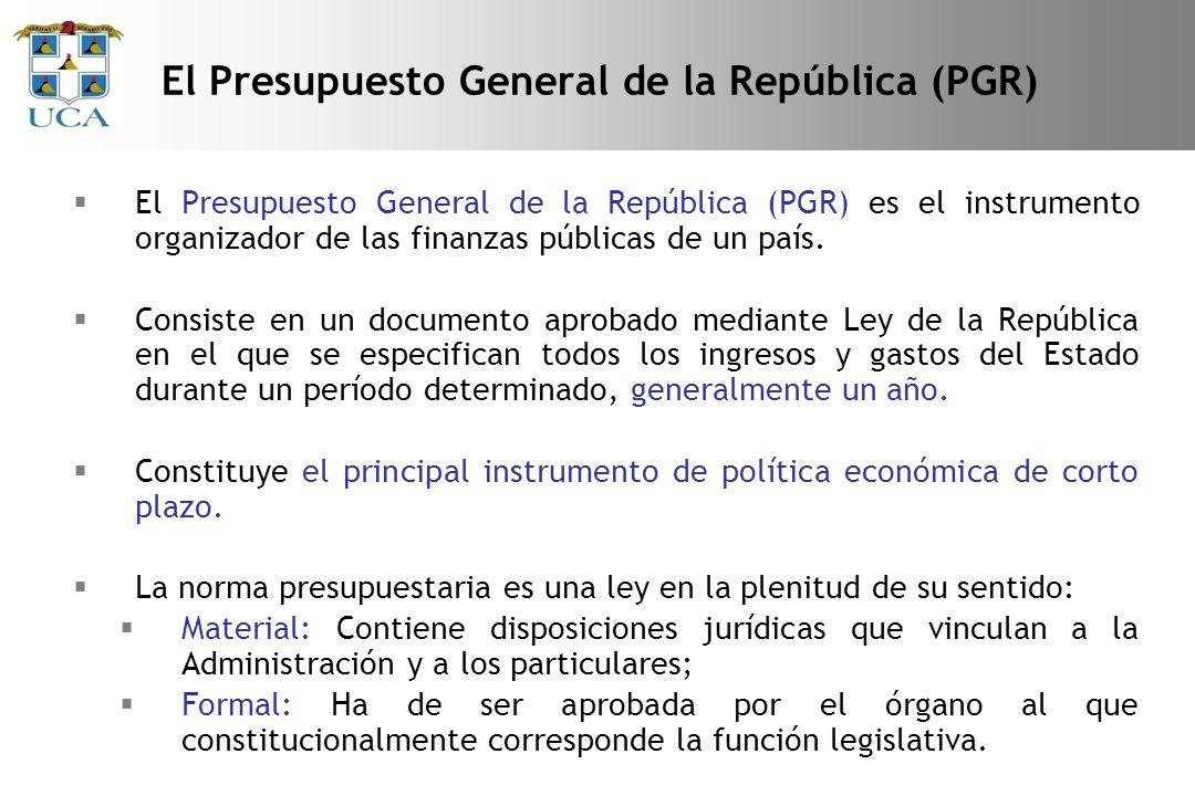 El Presupuesto General de la República (PGR) es el instrumento organizador de las finanzas públicas de un país.