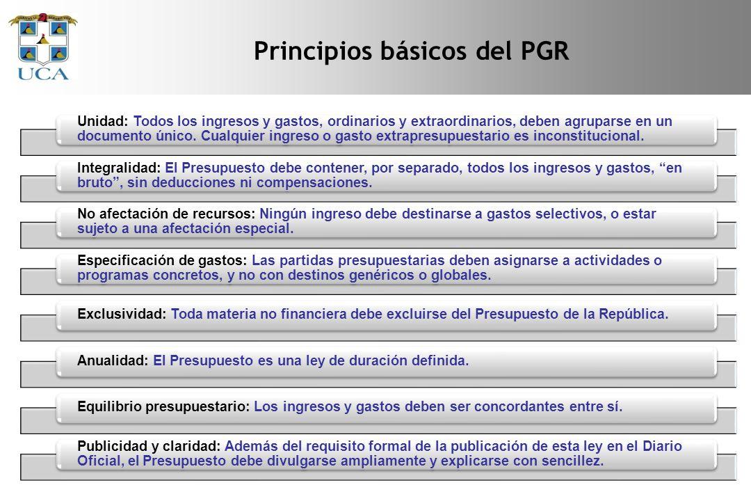 Principios básicos del PGR Unidad: Todos los ingresos y gastos, ordinarios y extraordinarios, deben agruparse en un documento único.