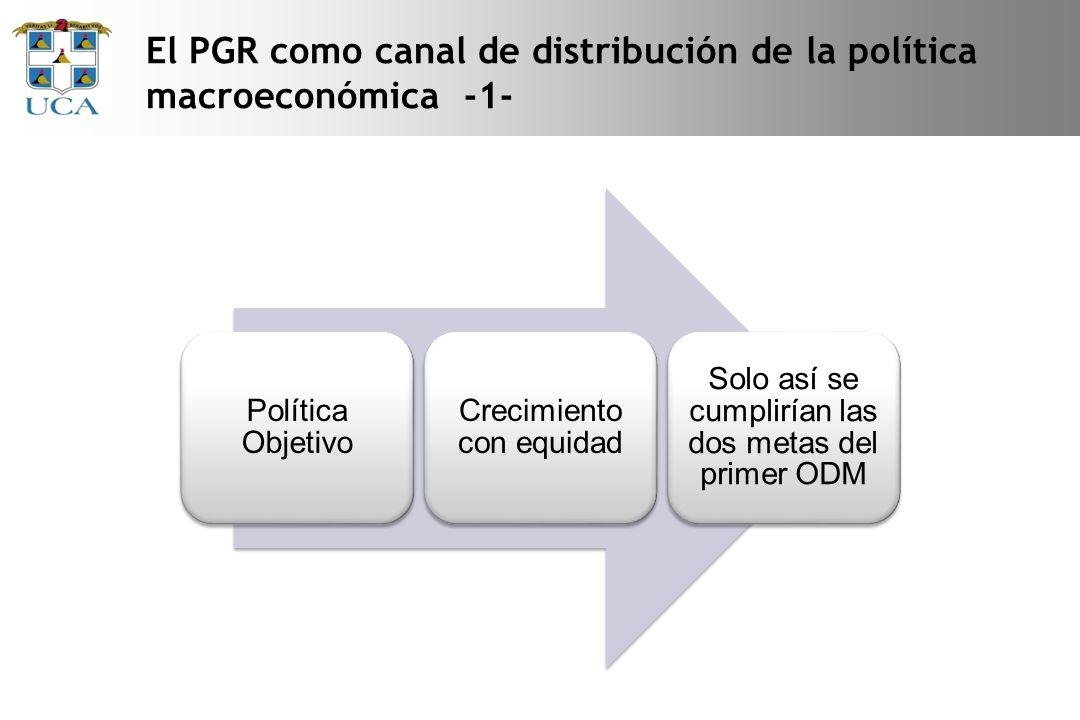 El PGR como canal de distribución de la política macroeconómica -1- Política Objetivo Crecimiento con equidad Solo así se cumplirían las dos metas del primer ODM
