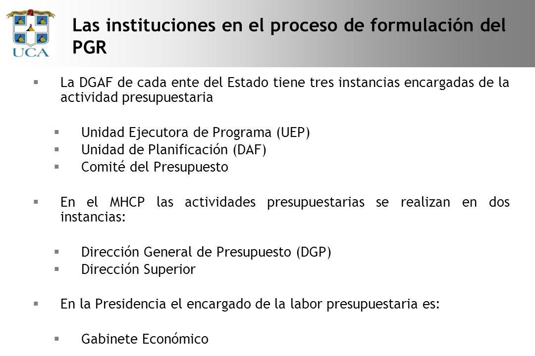 La DGAF de cada ente del Estado tiene tres instancias encargadas de la actividad presupuestaria Unidad Ejecutora de Programa (UEP) Unidad de Planificación (DAF) Comité del Presupuesto En el MHCP las actividades presupuestarias se realizan en dos instancias: Dirección General de Presupuesto (DGP) Dirección Superior En la Presidencia el encargado de la labor presupuestaria es: Gabinete Económico Las instituciones en el proceso de formulación del PGR