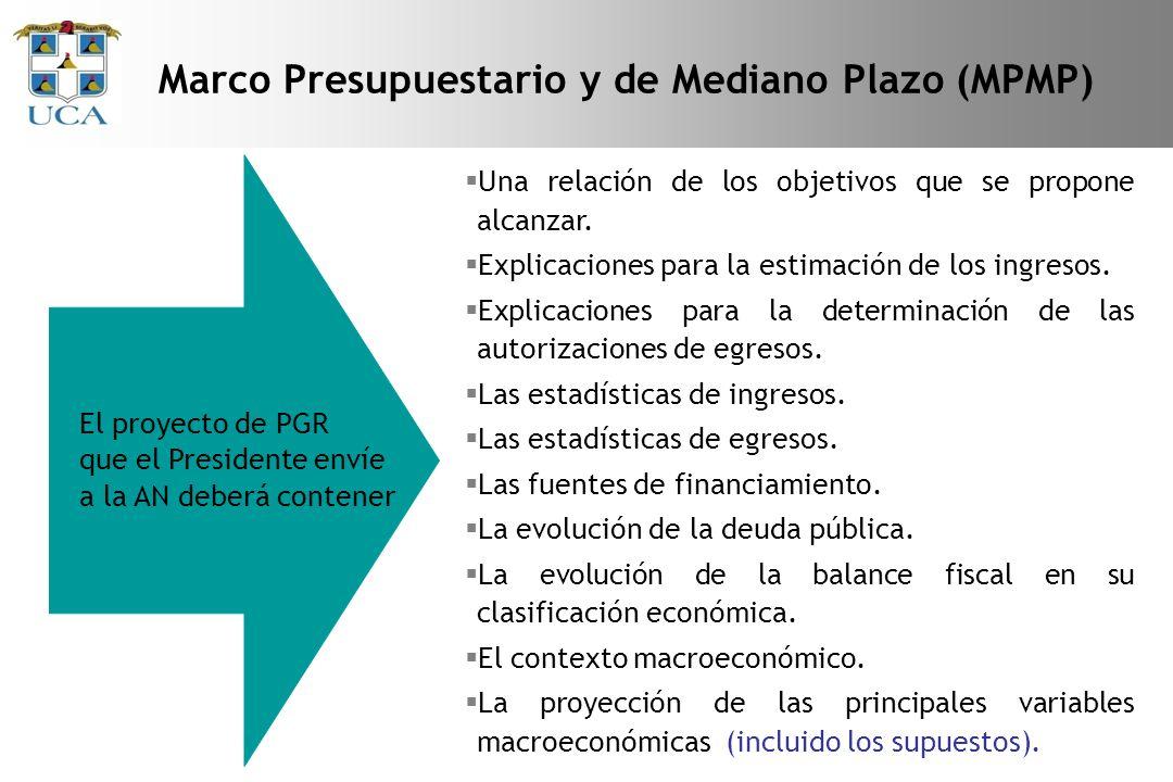 Marco Presupuestario y de Mediano Plazo (MPMP) El proyecto de PGR que el Presidente envíe a la AN deberá contener Una relación de los objetivos que se propone alcanzar.