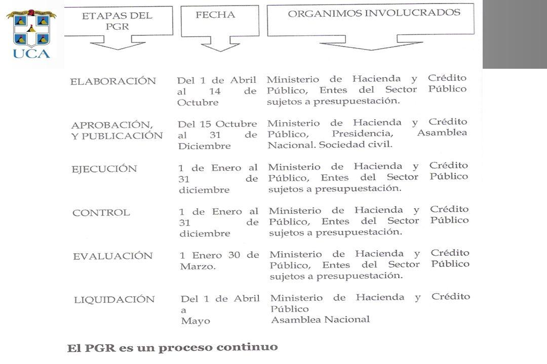 Etapas del proceso de presupuestación Duración: 2 años y 3 meses