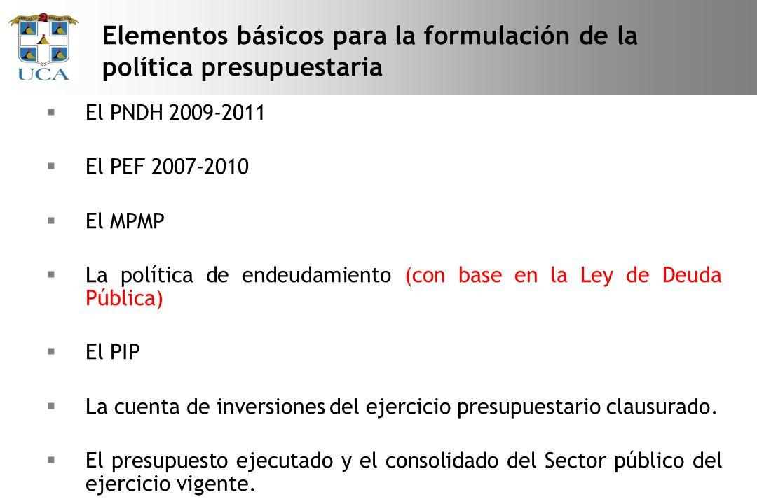 El PNDH 2009-2011 El PEF 2007-2010 El MPMP La política de endeudamiento (con base en la Ley de Deuda Pública) El PIP La cuenta de inversiones del ejercicio presupuestario clausurado.