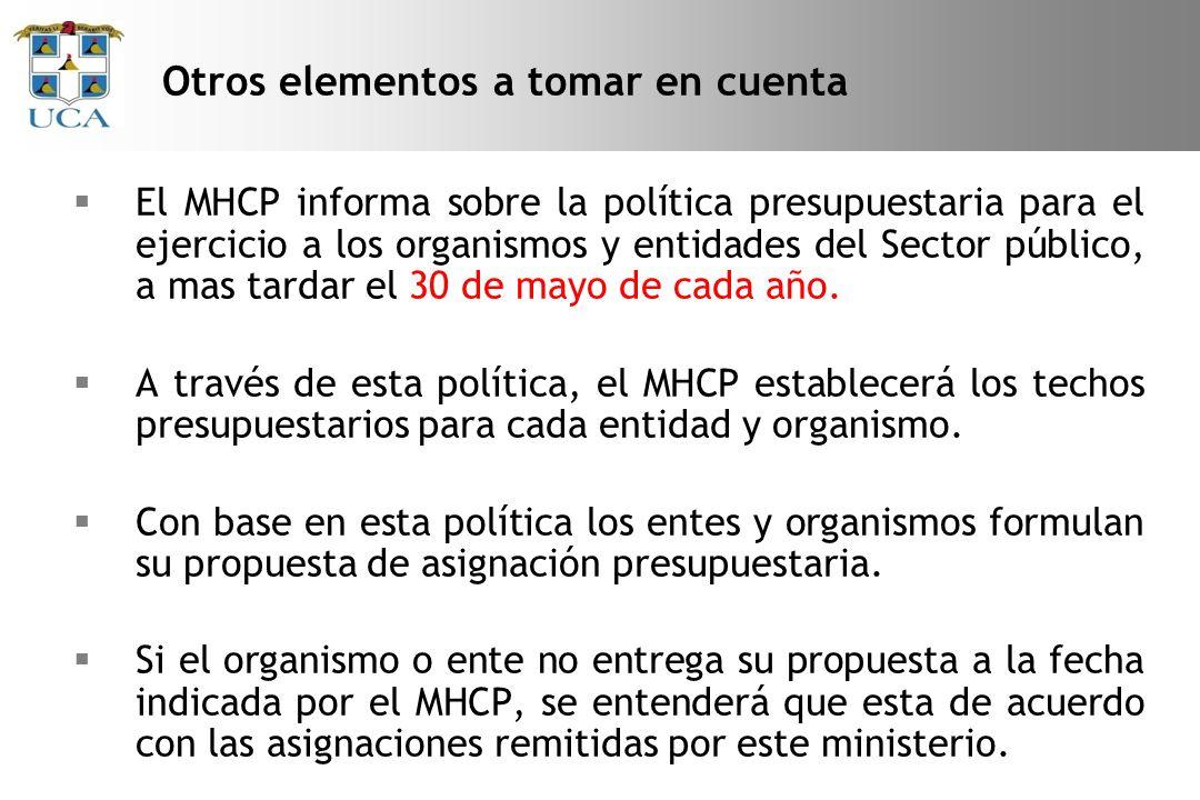 El MHCP informa sobre la política presupuestaria para el ejercicio a los organismos y entidades del Sector público, a mas tardar el 30 de mayo de cada año.