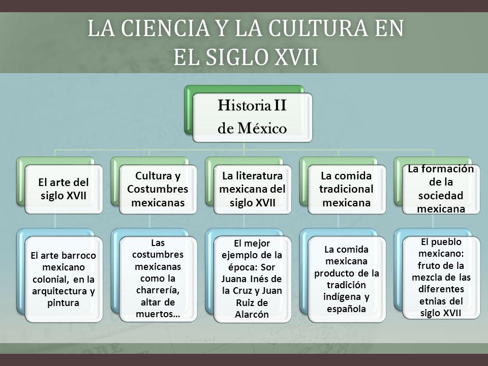 HISTORIA II CORRESPONDIENTE A HISTORIA DE MÉXICO El siglo XVII constituye la época de la conformación de la cultura novohispana, específicamente mexicana.