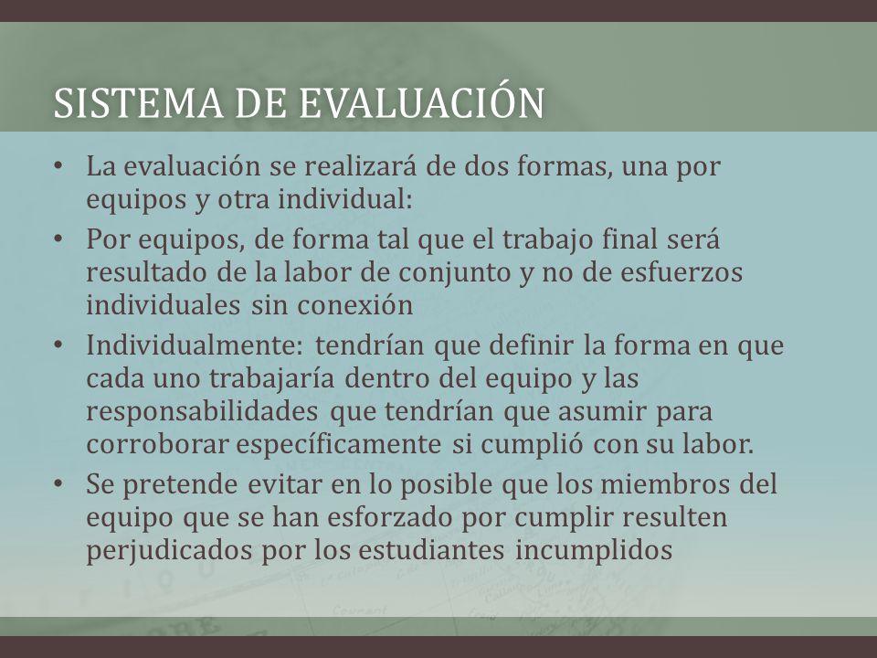 SISTEMA DE EVALUACIÓNSISTEMA DE EVALUACIÓN La evaluación se realizará de dos formas, una por equipos y otra individual: Por equipos, de forma tal que