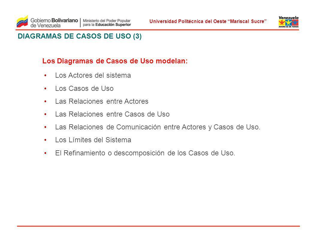 Universidad Politécnica del Oeste Mariscal Sucre DIAGRAMAS DE CASOS DE USO (3) Los Diagramas de Casos de Uso modelan: Los Actores del sistema Los Caso