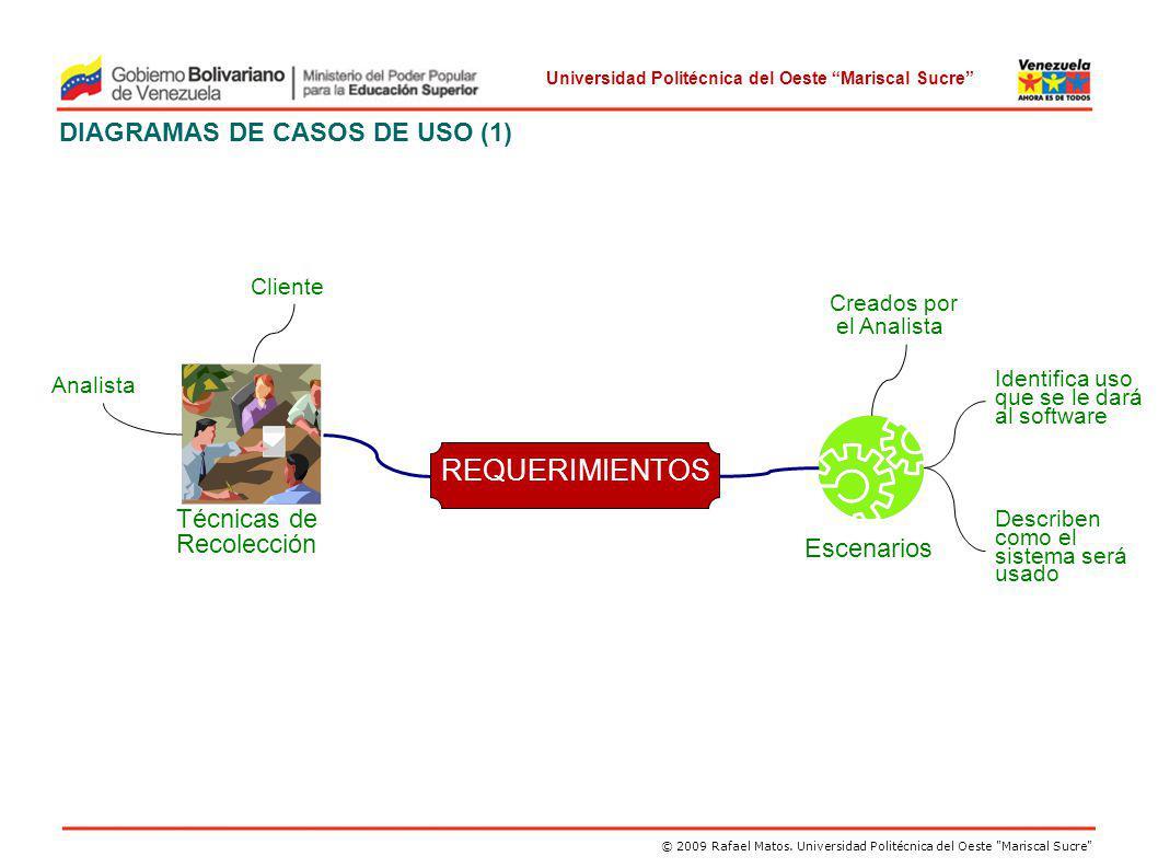 Universidad Politécnica del Oeste Mariscal Sucre DIAGRAMAS DE CASOS DE USO (2) Los Diagramas de Casos de Uso son utilizados en la Ingeniería de Requerimientos para especificar los requisitos funcionales del sistema Los requisitos funcionales de una aplicación se especifican mediante uno o más casos de uso.