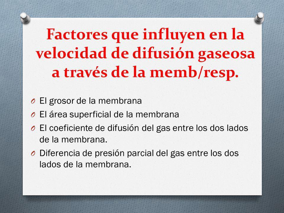 Factores que influyen en la velocidad de difusión gaseosa a través de la memb/resp. O El grosor de la membrana O El área superficial de la membrana O