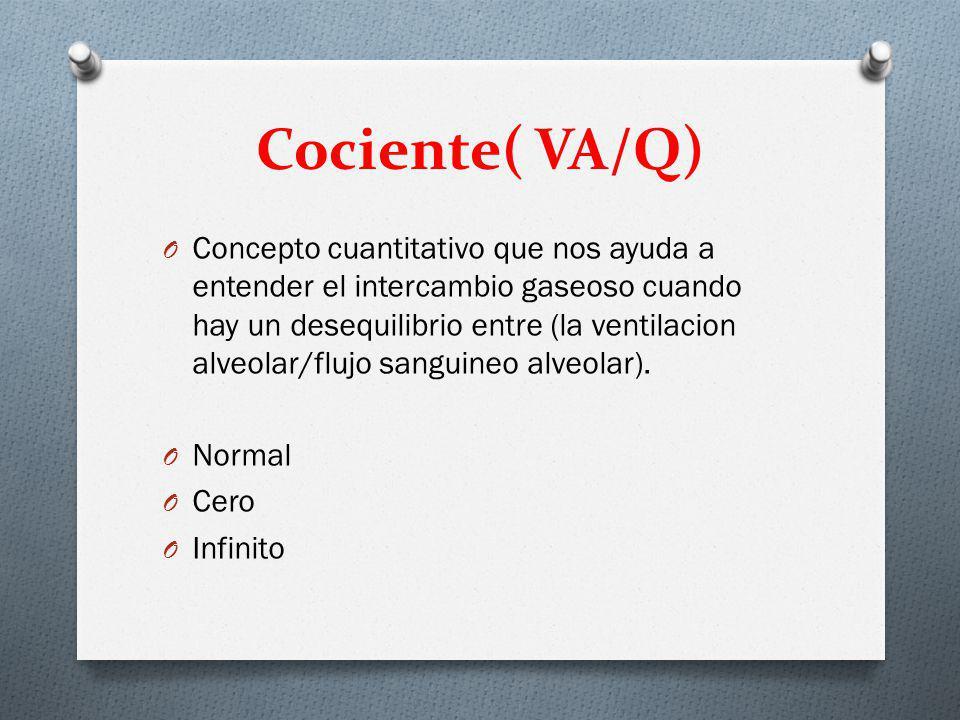 Cociente( VA/Q) O Concepto cuantitativo que nos ayuda a entender el intercambio gaseoso cuando hay un desequilibrio entre (la ventilacion alveolar/flujo sanguineo alveolar).