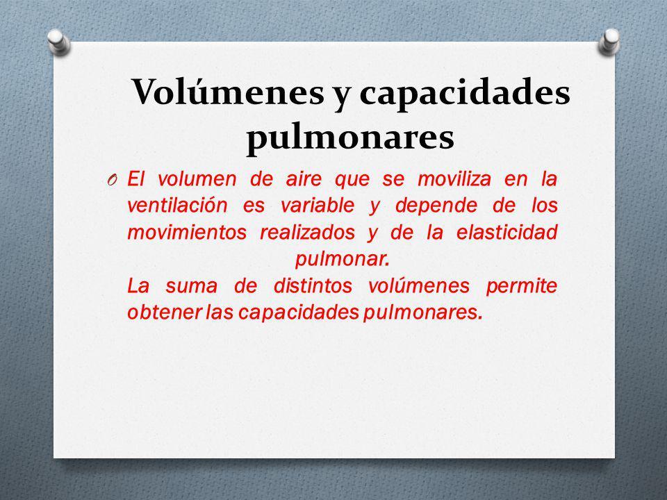 Volúmenes y capacidades pulmonares O El volumen de aire que se moviliza en la ventilación es variable y depende de los movimientos realizados y de la elasticidad pulmonar.