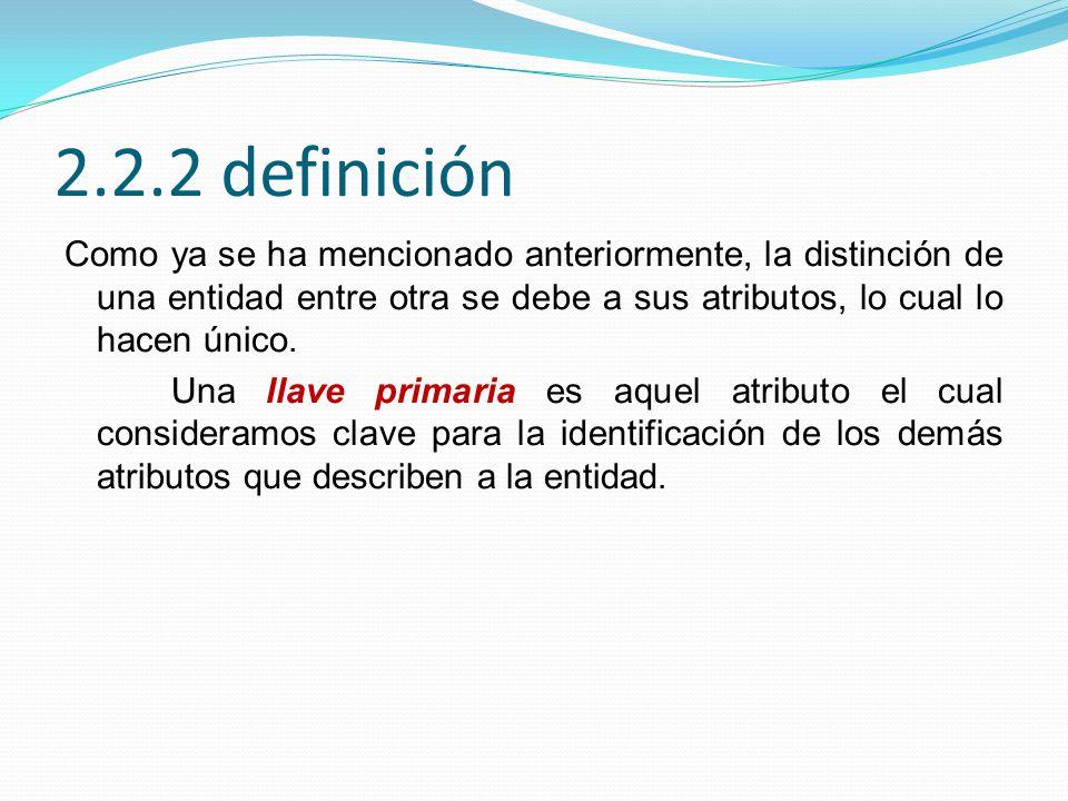 2.2.2 definición Como ya se ha mencionado anteriormente, la distinción de una entidad entre otra se debe a sus atributos, lo cual lo hacen único. Una