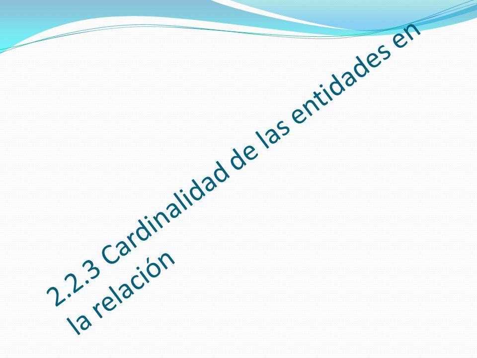 2.2.3 Cardinalidad de las entidades en la relación