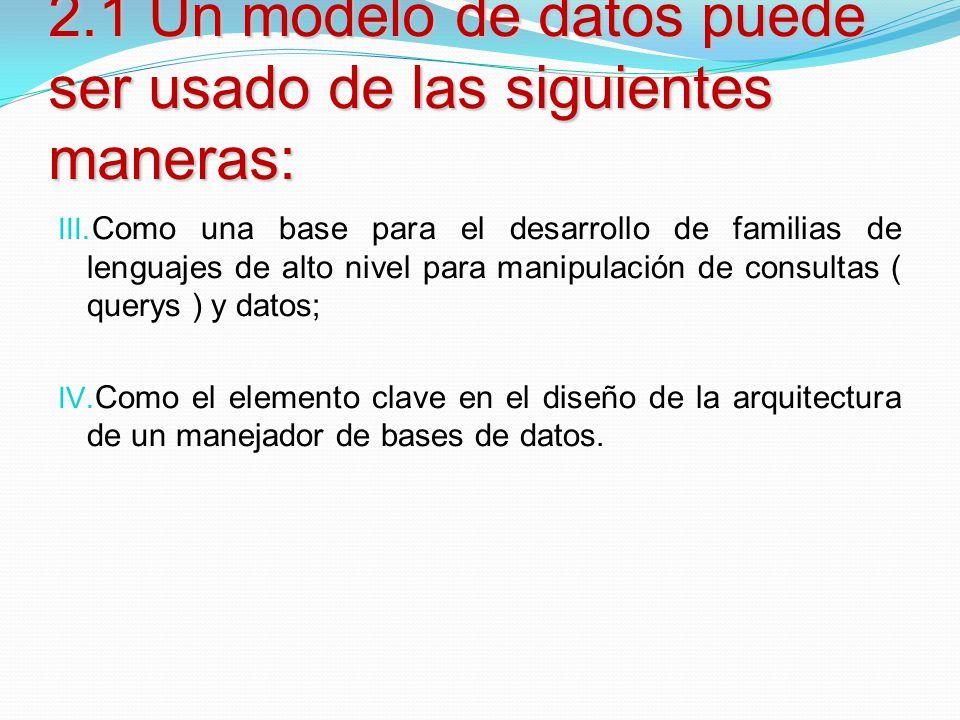 2.1 Un modelo de datos puede ser usado de las siguientes maneras: III. Como una base para el desarrollo de familias de lenguajes de alto nivel para ma