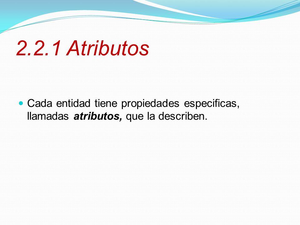 2.2.1 Atributos Cada entidad tiene propiedades especificas, llamadas atributos, que la describen.