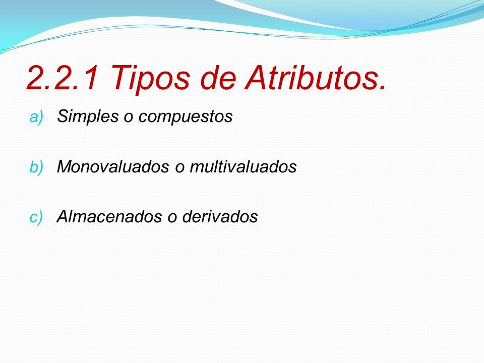 2.2.1 Tipos de Atributos. a) Simples o compuestos b) Monovaluados o multivaluados c) Almacenados o derivados
