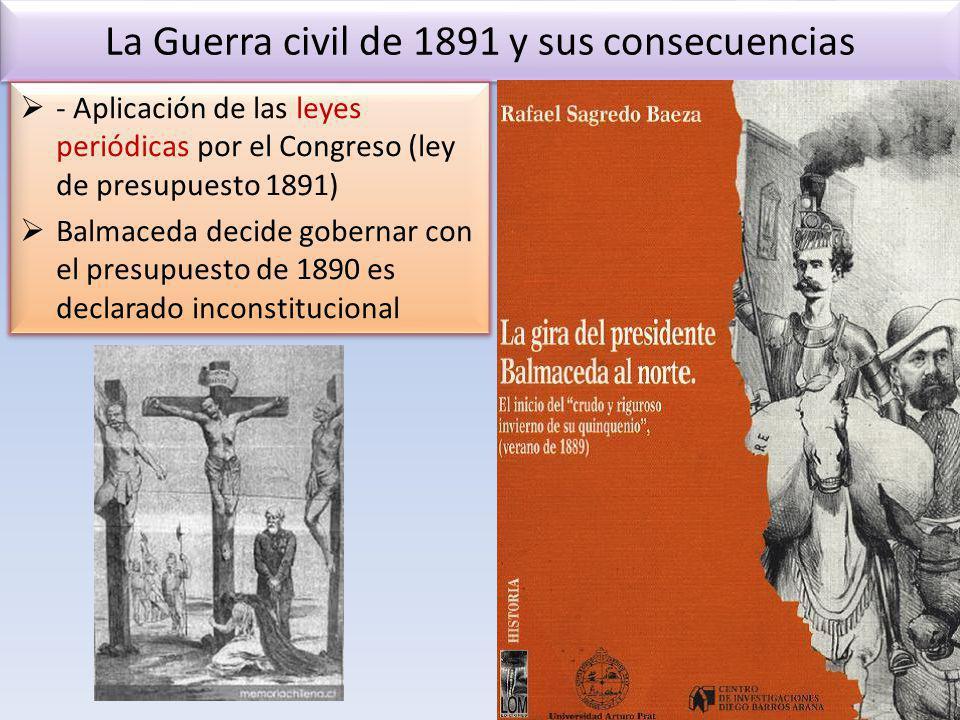 La Guerra civil de 1891 y sus consecuencias - Aplicación de las leyes periódicas por el Congreso (ley de presupuesto 1891) Balmaceda decide gobernar c
