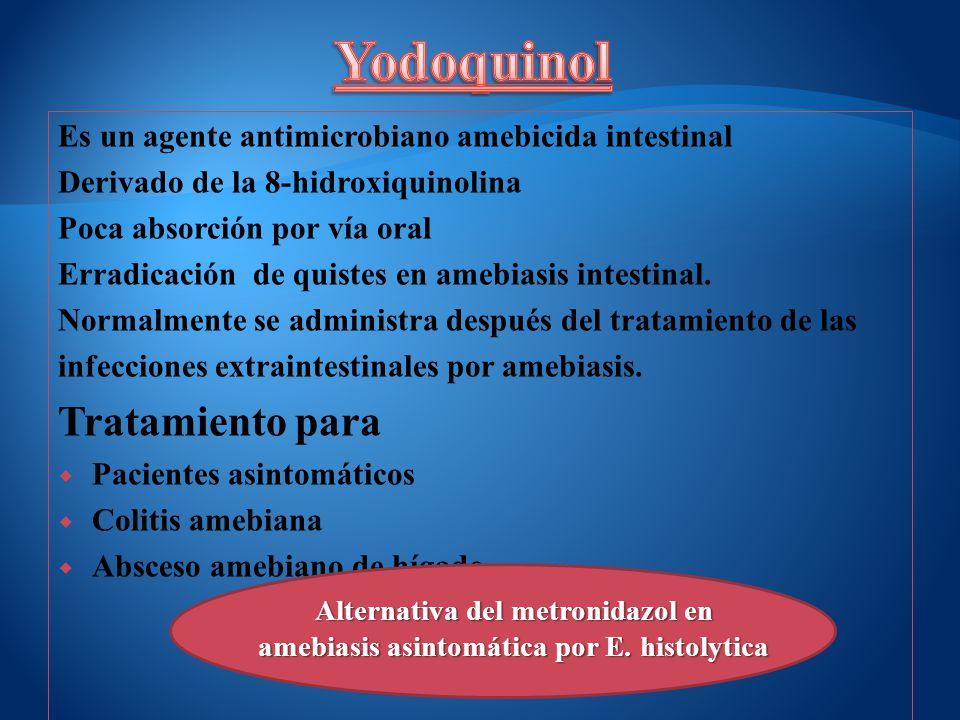 Es un agente antimicrobiano amebicida intestinal Derivado de la 8-hidroxiquinolina Poca absorción por vía oral Erradicación de quistes en amebiasis in