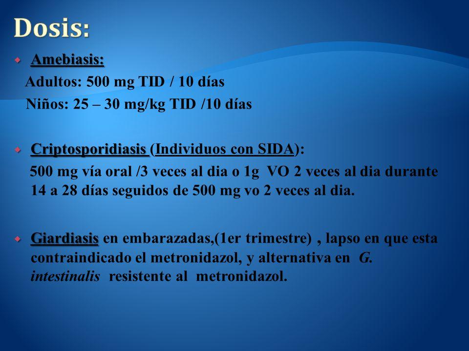 Amebiasis: Amebiasis: Adultos: 500 mg TID / 10 días Niños: 25 – 30 mg/kg TID /10 días Criptosporidiasis Criptosporidiasis (Individuos con SIDA): 500 m
