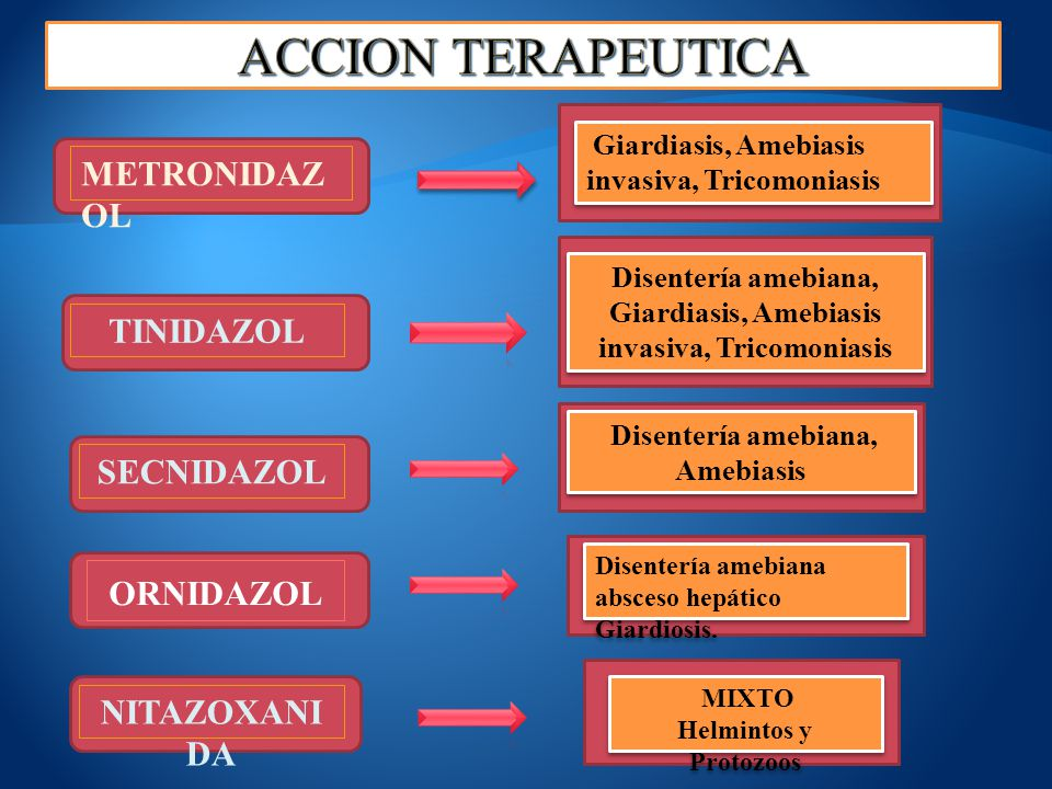 METRONIDAZ OL Giardiasis, Amebiasis invasiva, Tricomoniasis TINIDAZOL Disentería amebiana, Giardiasis, Amebiasis invasiva, Tricomoniasis SECNIDAZOL Di
