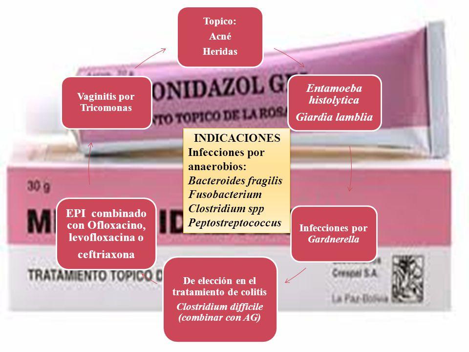 Topico: Acné Heridas Entamoeba histolytica Giardia lamblia Infecciones por Gardnerella De elección en el tratamiento de colitis Clostridium difficile
