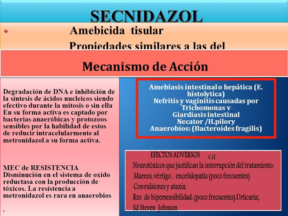 Amebicida tisular Propiedades similares a las del metronidazol Amebicida tisular Propiedades similares a las del metronidazol Amebiasis intestinal o h